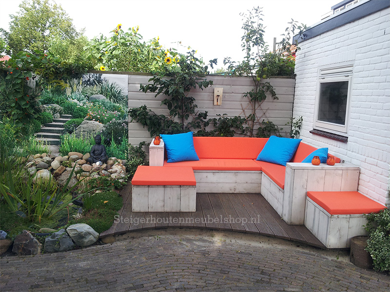 Steigerhouten hoekbank white loungebank steigerhout for Goedkope lounge kussens